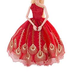 AMOFINY Fashion Pure Red Wedding Dress Evening Party Clothes