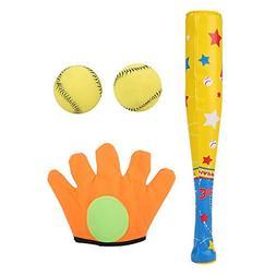 4Pcs Baseball Toy Set Soft Baseball Toys Bat+Gloves+Ball Set