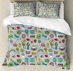 Emoji Duvet Cover Set with Pillow Shams Pop Art Cartoon Figu
