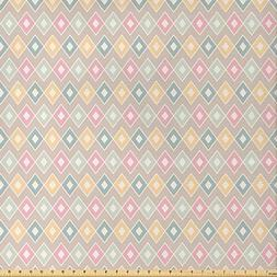 Ambesonne Geometric Fabric by The Yard, Pop Art Stylized Sof