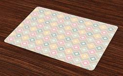 Geometric Placemats Set of 4 Pop Art Style Figures Print Fab