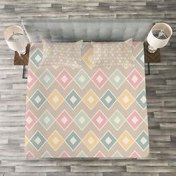 Geometric Quilted Bedspread & Pillow Shams Set, Pop Art Styl