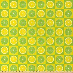 Ambesonne Lime Green Fabric by The Yard, Lemon and Lime Figu