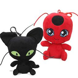 YODE Miraculous Ladybug Cat Plagg & Tikki Noir Plush Toys La