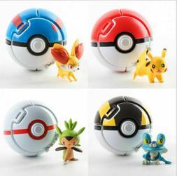 Pokemon GO Pikachu Fennekin Chespin Toy Figures 4 Pcs w/Thro