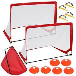 ZENY 4' Portable Pop-Up Soccer Goals, Set of 2, Kids Soccer