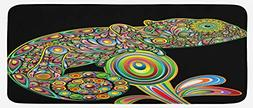 Ambesonne Psychedelic Kitchen Mat, Pop Art Chameleon Figure