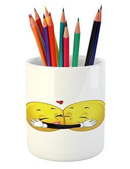 Romantic Pencil Pen Holder by Ambesonne, Emoji Figures Huggi