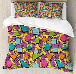 Ambesonne Vintage Duvet Cover Set Queen Size, Funky Geometri