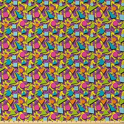 Ambesonne Vintage Fabric by The Yard, Funky Geometric 80s Me