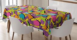 Vintage Tablecloth by Ambesonne, Funky Geometric 80s Memphis